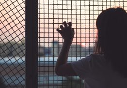 Picture of a Girl Looking at a Sunset Through Metal Fencing